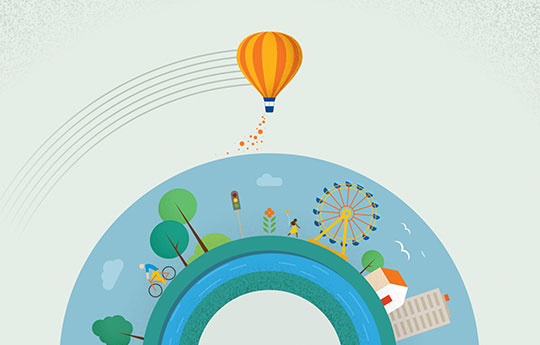 Representative image of a world with person riding a bicycle, ferris wheel, house, building, birds, trees and a moving balloon.